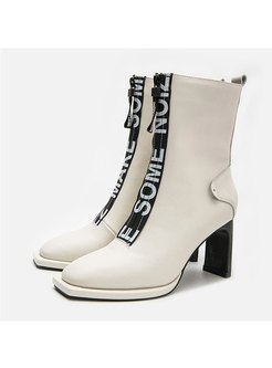 Square Toe Letter Print Chunky Heel Boots