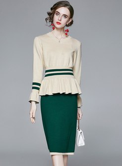 Color Block V-neck Ruffle Sweater Skirt Suits