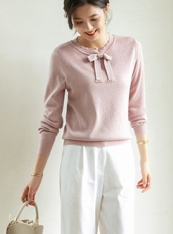 Bowknot Pullover Long Sleeve Sweater