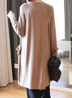 Solid Color Knee-length Sweater Coat