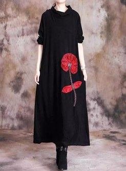 Hooded Print Cashmere Long Shift Dress