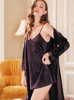 Lace V-neck Velvet Patchwork Robe Set