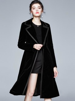 Notched Velvet A Line Trench Coat