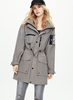 Long Sleeve Straight Drawstring Trench Coat