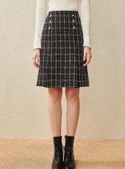 Plaid High Waisted Tweed A Line Skirt