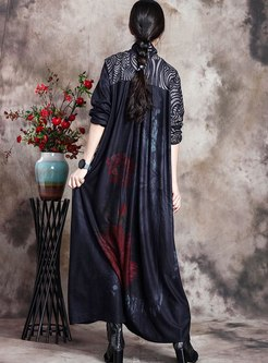 Cross V-neck Print Patchwork Maxi Dress