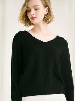 V-neck Solid Color Pullover Backless Sweater