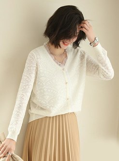 Lace Patchwork V-neck Pullover Sweater
