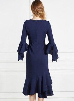 Mesh Embroidered Patchwork Peplum Dress
