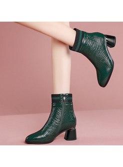 Rounded Toe Plush Chunky Heel Short Boots