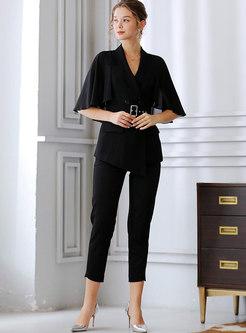 Black Cape Sleeve Belted Slim Blazer