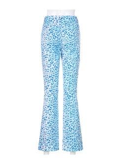 Blue Leopard Straight Long Jean Pants
