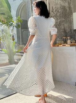 V-neck Openwork High Waisted Beach Maxi Dress