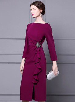 Long Sleeve Ruffle Bodycon Cocktail Dress