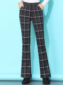 High Waisted Plaid Flare Pants