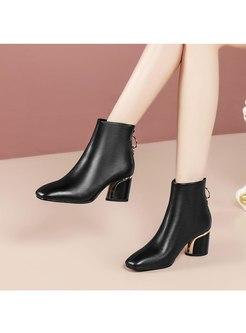 Square Toe Plush Chunky Heel Short Boots