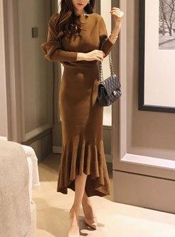 Long Sleeve Bodycon Knitted Peplum Dress
