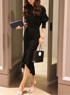 Long Sleeve Bodycon Knitted Peplum Dress