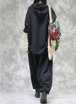 Black Hooded Pullover Loose Knitted Pant Suits