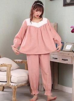 Color-blocked Long Sleeve Sweet Pajama Set