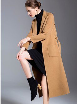 Notched Double-cashmere Long Overcoat