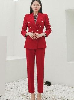 Red Long Sleeve Slim Work Pant Suits