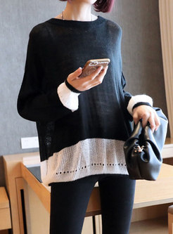 Color-blocked Pullover Openwork Sweater