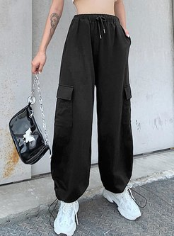 High Waisted Drawstring Cargo Pants