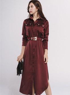 Turn Down Collar Belted A Line Shirt Dress