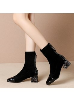 Square Toe Leather Patchwork Short Boots