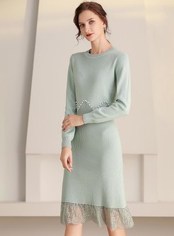 Long Sleeve Beaded Lace Patchwork Sweater Dress