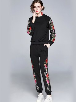 Plus Size Embroidered Sweatshirt & Harem Pants