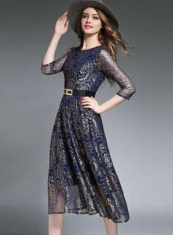 Lace Openwork Belted Midi Cocktail Dress