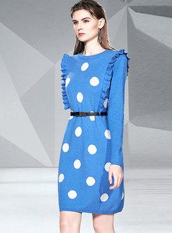 Polka Dot Ruffle Long Sleeve Sweater Dress
