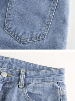 Color-blocked Tie Dye Wide Leg Jeans