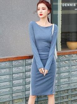 Long Sleeve Bodycon Knee-length Dress