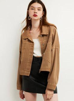 Khaki Long Sleeve Straight Denim Jacket