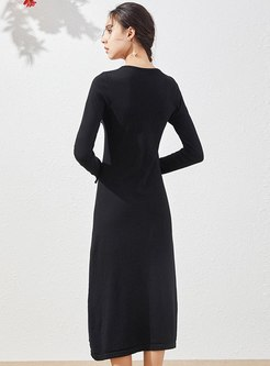 V-neck Ruched Knitted Empire Waist Dress