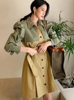 Puff Sleeve Color-blocked A Line Trench Coat