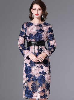 Mesh Embroidered A Line Knee-length Dress