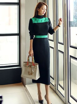 Turtleneck Color Block Sweater Sheath Dress