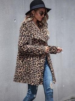 Lapel Leopard Print Fake Shearling Coats