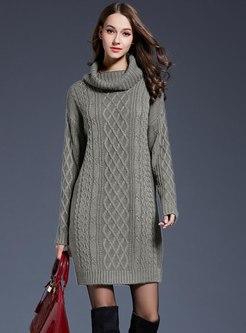 Turtleneck Plus Size Shift Sweater Dress