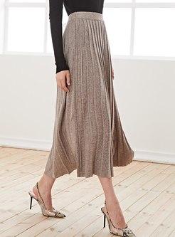High Waisted Big Hem Knitted Long Skirt