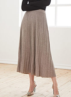 High Waisted Big Hem Knitted Long Skirt