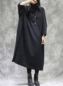 Plus Size Turtleneck Shift Long Sweater Dress