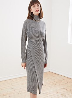Long Sleeve Split Sheath Knitted Dress