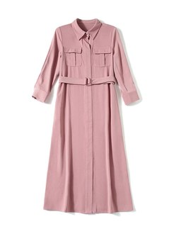 Turn Down Collar A Line Midi Shirt Dress