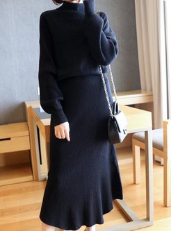 Long Sleeve Knitted Patchwork Ruffle Dress