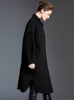 Asymmetric Cocoon Cashmere Loose Overcoat